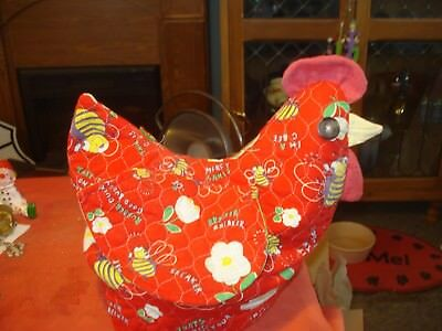 Chicken Rooster Bread Bun Roll Warmer Cover Quilted Fabric & Basket Handmade