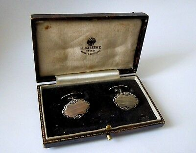 very RARE imperial RUSSIAN 84 silver Cufflinks, Faberge design 1915-17th