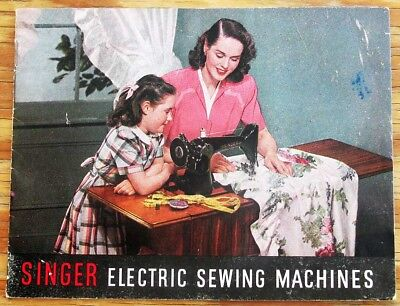 Vintage SINGER Electric Sewing Machines Singer Sewing Center Advertisement Book