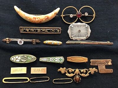 Lot Of Antique & Vintage Brooches Camphor Glass Lingerie Bar Pins Collar Button