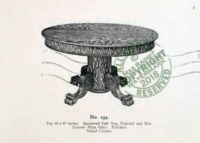 Watsontown Table Furniture 1908 CATALOG Tiger Oak wood Extension Tables Samples