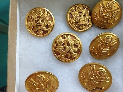 7 WWII US Army Great Seal Eagle Raised Detail Brass Buttons Waterbury