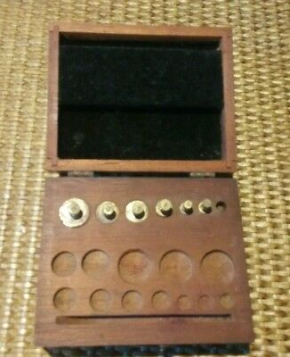 Antique Scale Weight Set In Mahogany Case