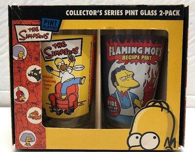 The Simpsons Collector's Series Pint Glass 2- Pack ICup 2007- RARE