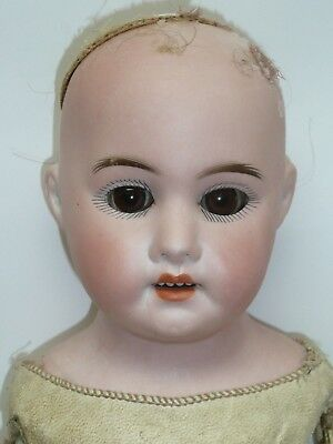 "19"" Antique German Schoenau Hoffmeister w/Kid Body, Brown Eyes, As Is, As Found"