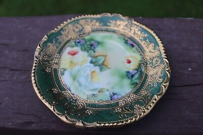 Nippon Porcelain Gorgeous Small Saucer Green Gold Roses