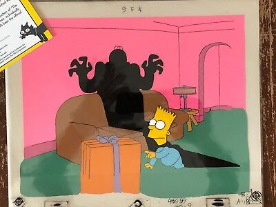 RARE Simpsons cel set-up w/ COA from The Tracey Ullman Show- Simpson Xmas, 1988