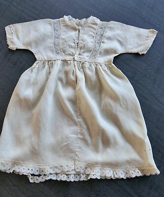 Antique Victorian Needlework Baby / Doll's Dress, Ivory Silk, Lace, Rosebuds