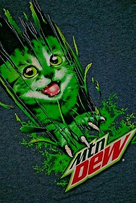 Mtn Dew shirt vintage t-shirt Size Small gray w attack cat