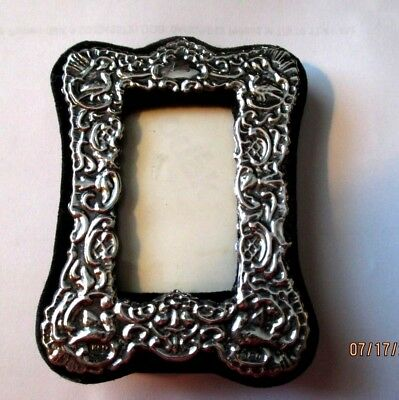 KFL London English Hallmarks Sterling Silver Antique Mini Photo Frame Repousse