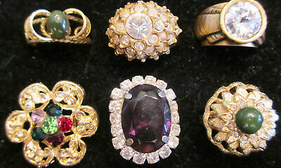 Amethyst, Flower Rhinestone, Faux Jade~6 RING LOT~4 Never Worn~Wear~Share