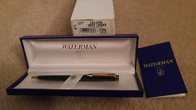 New Waterman Green Lacquer Rollerball Pen with Gold Trim, Made in France (27284)