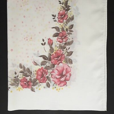 """Vintage 1960s Tablecloth Pink Roses 65"""" x 52"""" California Hand Prints"""