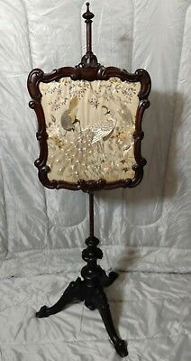 Antique Pole Screen, English, Victorian, Needlepoint, Peacock Tapestry c. 1850