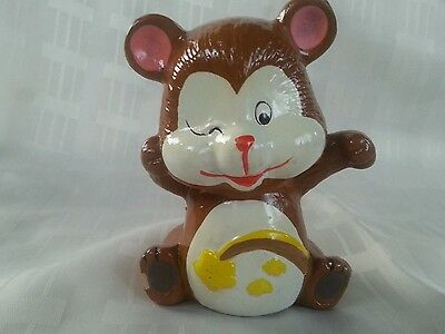 Vintage Brown Winking Bear Bank With Rainbow