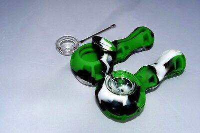Silicone Tobacco Pipe w/ Glass Bowl, Stash Spot, and Wax Tool -