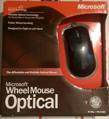 Sealed Microsoft Black Wheel Mouse Optical USB PS/2 2-Button New PC MAC NOS