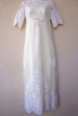 VTG 1960s Edythe Vincent Alfred Angelo Full Length WEDDING GOWN Lace Loop Button