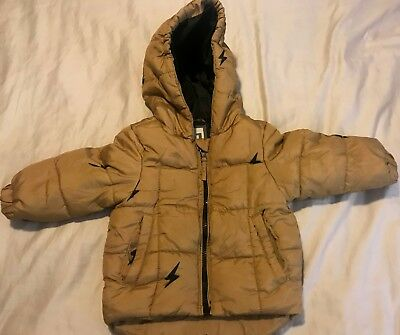 Boys Cotton On Gold Hoodie Puffer Jacket Size 1 Excellent Condition