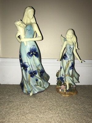 """Set Of Two Vintage Antique Edward Fine Porcelain 12"""" Women Statues Made In Italy"""