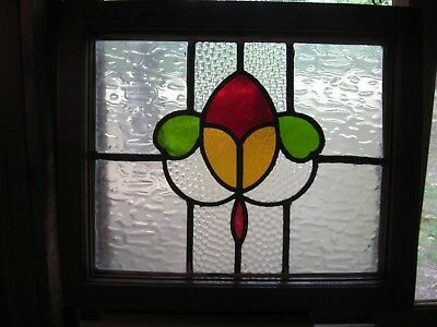 Stained Glass Window Antique Vtg Salvage Arts Crafts Farmhouse Shabby