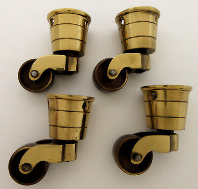 Vintage Brass Caster Cup Furniture Chair Table Wheels Swivel Roll Wheel Lot of 4