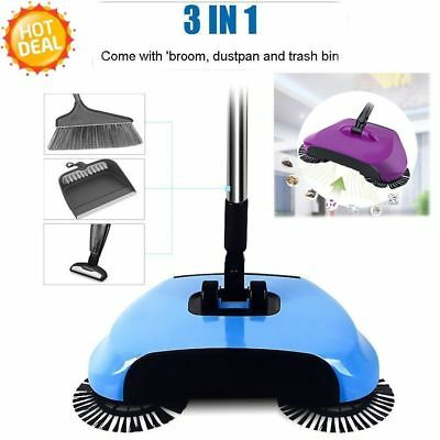 Household 3 in1 Dustbin Trash Floor Cleaning Machine Rotated Hand Push Sweeper