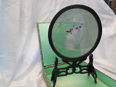 Suzhou Double Sided Silk Thread Embroidered Glass Framed Cat with Stand