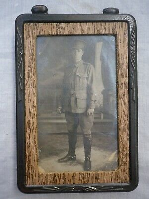 WW1 Australian photo postcard of a young digger in a frame. Signaler.