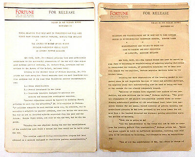 1943 WWII War Fortune Magazine Time Life Rockefeller New York  NYC Press Release
