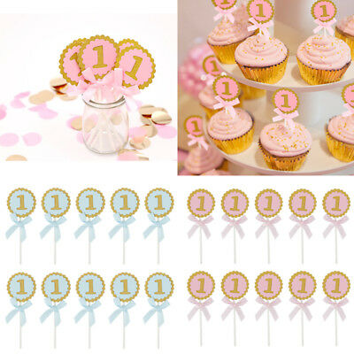 10Pcs 1st Birthday Cake Topper Girl Boy Round Party Cupcake Ideas DIY