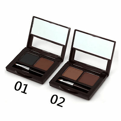 2 Color Eyebrow Powder Brow Cake with Brush Set + 2 Eyeliner Pencil