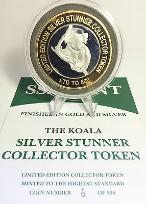 "NEW WITH C.O.A. 500 Made 43mm ""SILVER STUNNER"" C/TOR TOKEN, KOALA COIN b"
