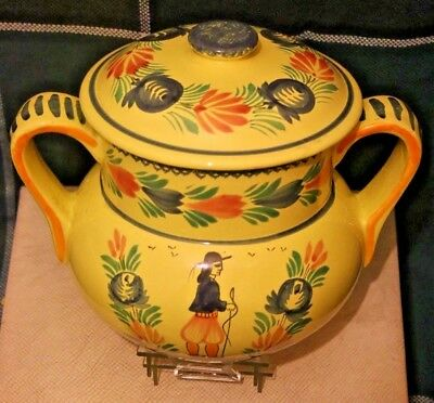 HB Quimper Faience - Soleil 2 Handled Lidded Pot / Jug / Bowl 5.25 x 8.9 inch.