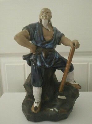 Vintage Chinese  Mud man statue figurine large