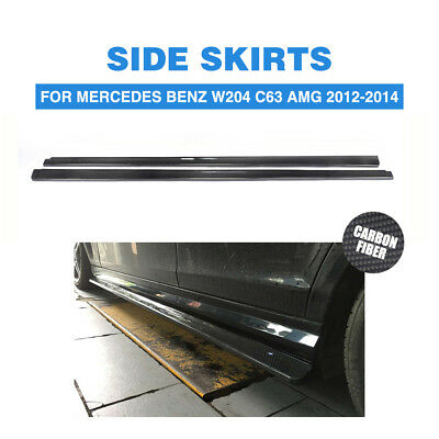 Carbon Fiber Side Skits Fit for Mercedes-Benz W204 C204 C63 AMG Only 2012-2014