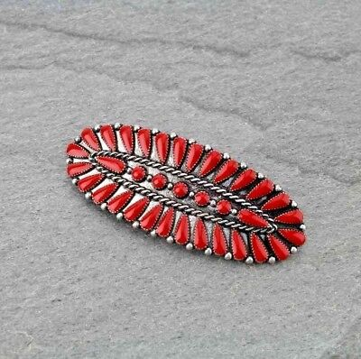 "Western Cowgirl Large 3"" Red Stone Silver Fashion French Clip Hair Barrette"