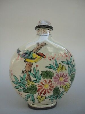 Collect Old Handmade China Copper Cloisonne Snuff Bottle Painting Flowers Birds