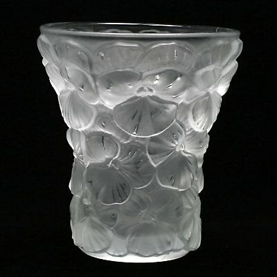 ANTIQUE Josef Inwald Barolac 1930's Czech Art Deco Frosted Pansy Vase