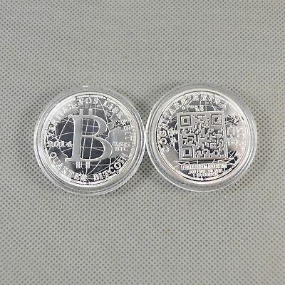 Fine Silver Plated Commemorative Bitcoin Collectible Golden Iron Miner Coin B19
