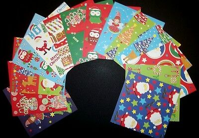 *MERRY SANTA*  Fun & Colourful Christmas Scrapbooking Papers x 14  *15cm x 15cm