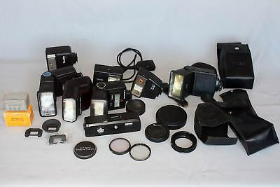 Mixed Lot of Vintage Flashes, Filters and cases, etc   (as shown)