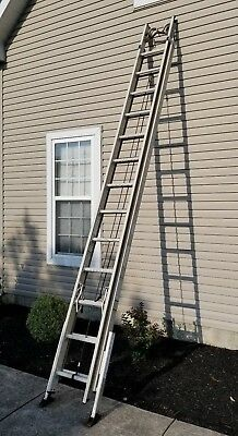 Werner 28 ft. Fiberglass Extension Ladder with Cable Hooks & Adjustable Legs