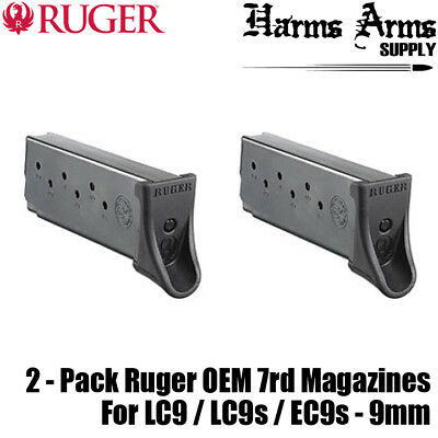 2 Pack Ruger LC9 / LC9s / EC9s 7rd Magazines w/ Pinky ext. 9mm 7 Round OEM 90642