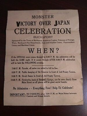WWII Victory Over Japan Poster Bucksport Maine Very Rare!!!