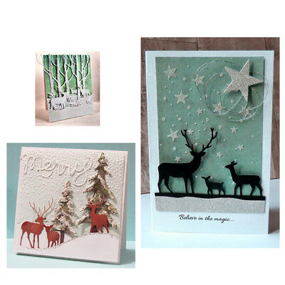 DIY Christmas Deer Metal Cutting Dies Stencil Embossing Scrapbooking Paper N7