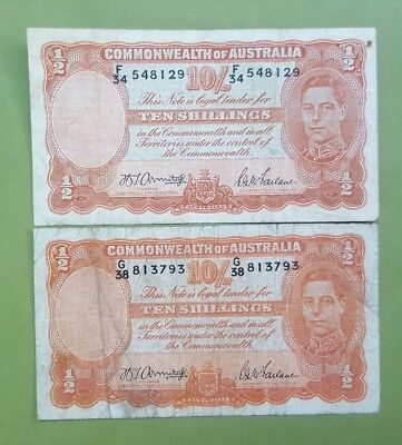 1942 Ten Shillings Commonwealth of Australian notes.