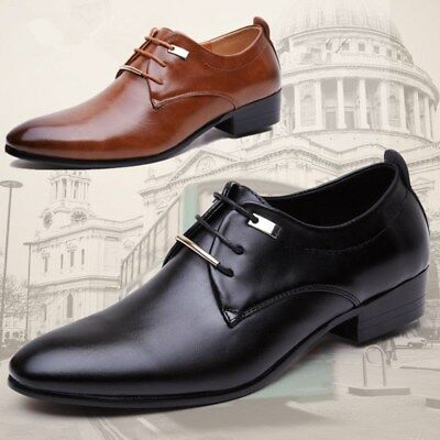 Men's Oxfords Leather Shoes Dress Formal Business Wedding Pointed Toe Casual