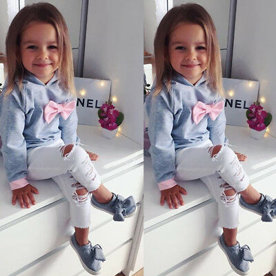 US Stock Kids Girls Clothes Set Toddler Bowknot Hoodie T-shirt Top+Denims Outfit