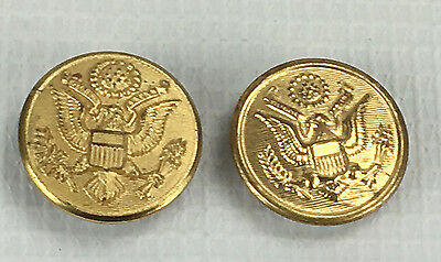 Vintage Pair of Military Brass Uniform Buttons Gold Tone Eagle